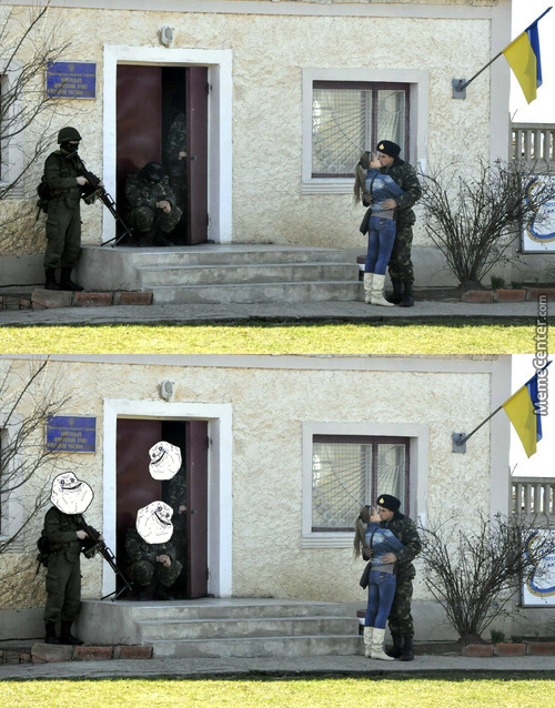 Ukrainian Soldier Ignores Russian Intruder
