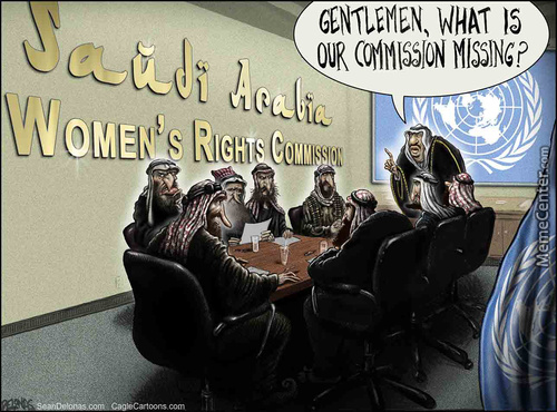 Un, Saudi Arabia, Women's Rights Commission, #sean Delonas, Delonas, Seandelonas.com, Cartoon, Funny, Satire, Humor