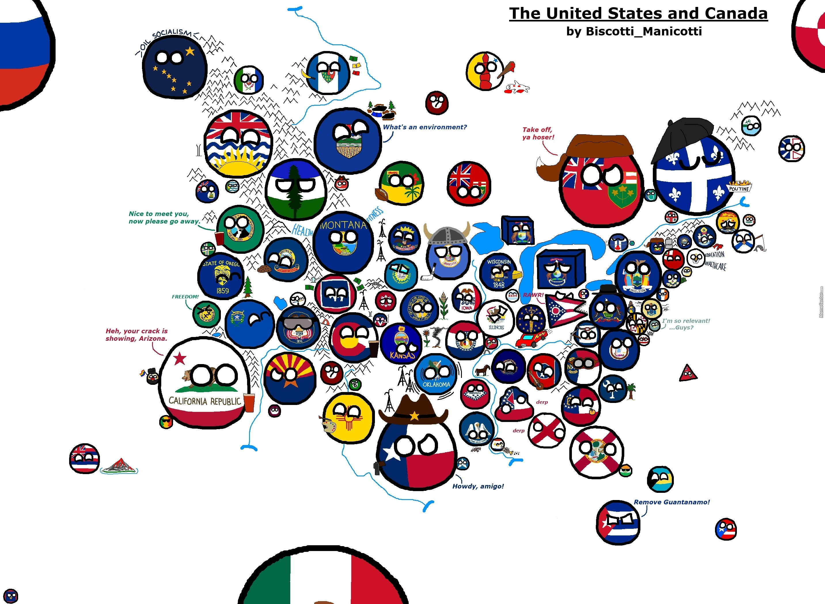 Us And Canada Map By Germanyball Meme Center - Map of us added to canada meme