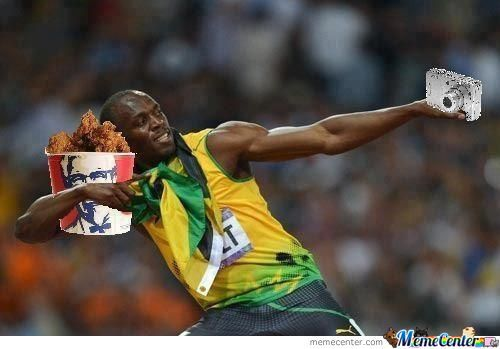 Usain Takin A Pic With Bucket Of Chick