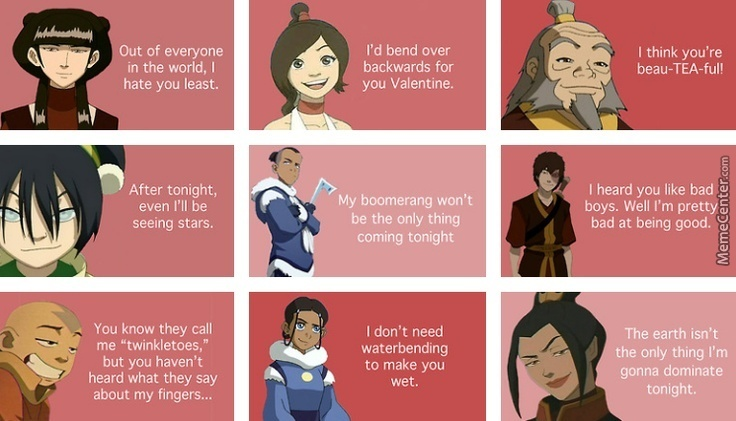 Valentine Pick Up Lines From Avatar: The Legend Of Aang