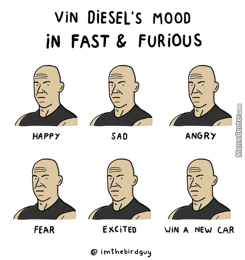 Vin Diesel's Mood In Fast & Furious