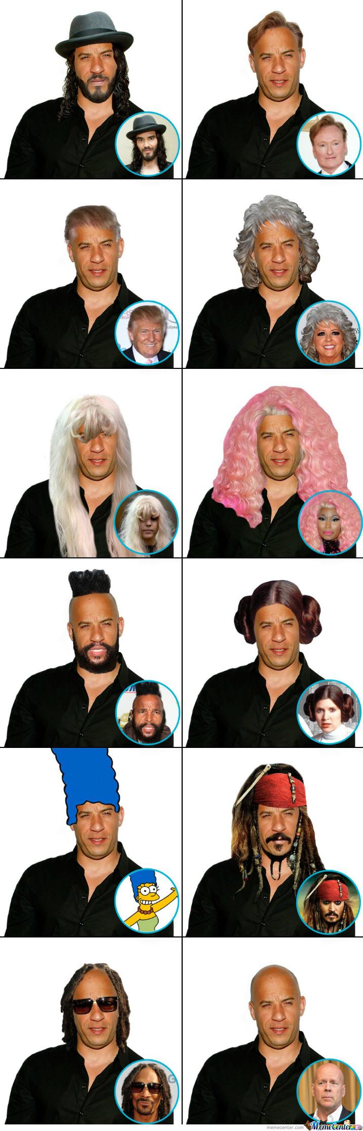 Vin Diesel With Other Star's Hair.