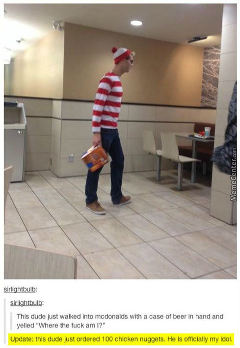 Waldo Must Be Hungry; 100 Chicken Mcnuggets - Good Luck.