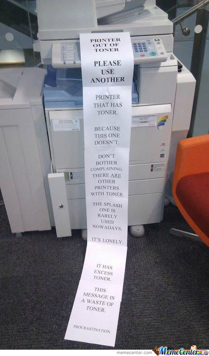 Wasting Toner. You're Doing It Right