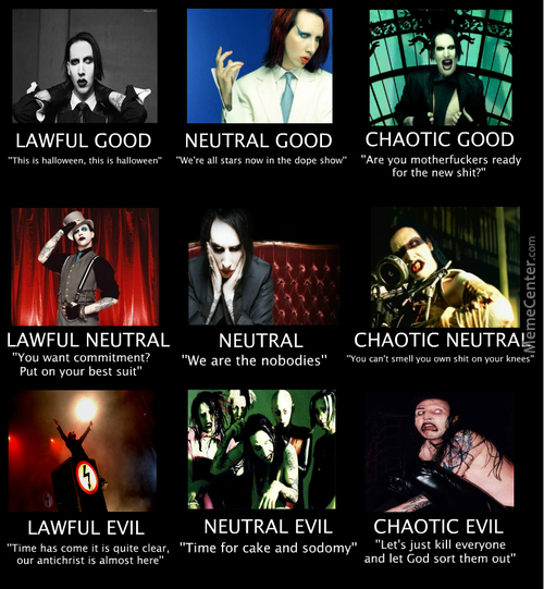 Marilyn Manson - chaotic good neutral allignment chart