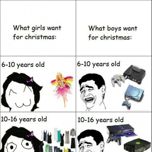 what we all want for christmas boys vs girls by recyclebin meme center - What Girls Want For Christmas