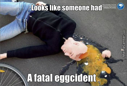 What You Should Eggspect When Riding A Bike Without A Helmet