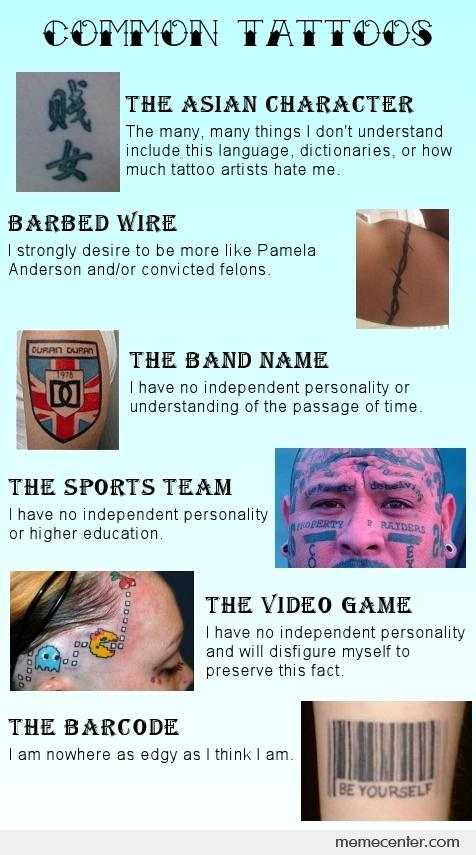 What Your Tattoo Says About You By Ben Meme Center