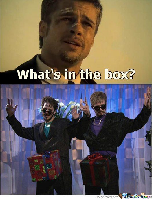 Image result for what's inside the box meme