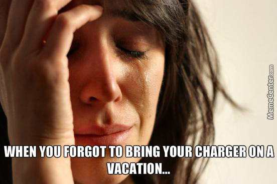 When You Forgot To Bring Your Charger On A Vacation..
