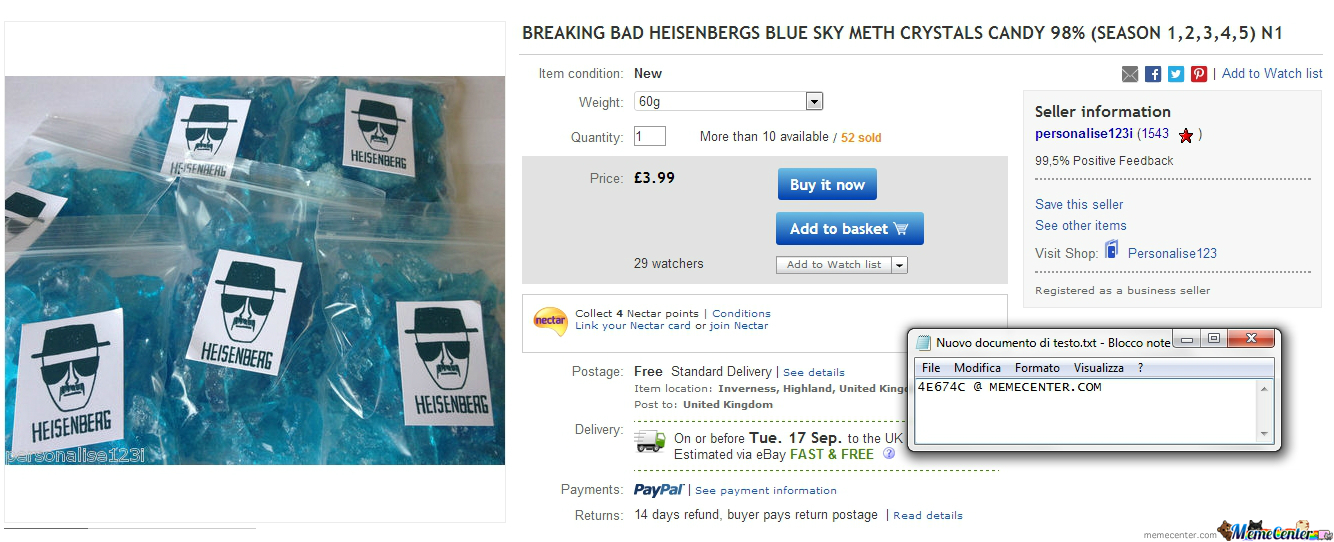 While Browsing The Internet : Breaking Bad Heisenbergs Blue Sky Meth Crystals Candy On Ebay