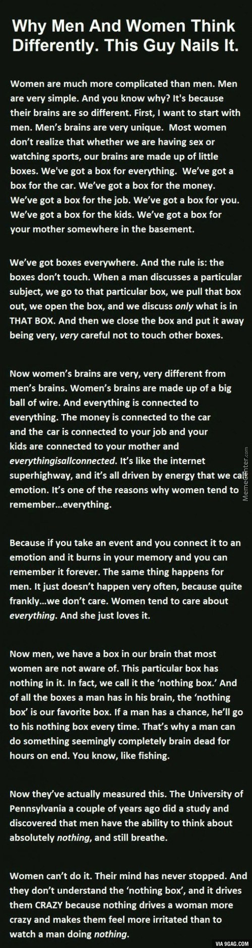 Why Do Men And Women Think Differently? This Explanation Nails It.