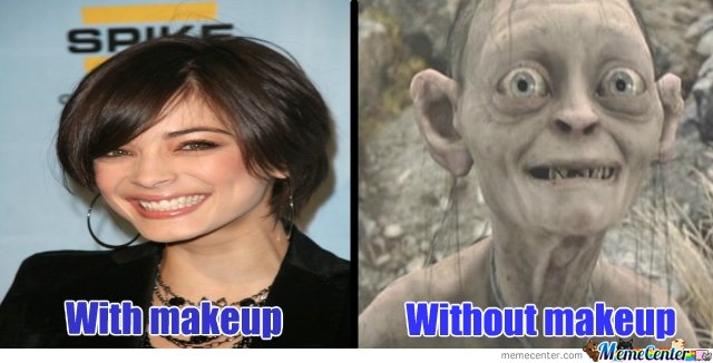 women with/without makeup