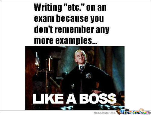 Writing Etc On An Exam