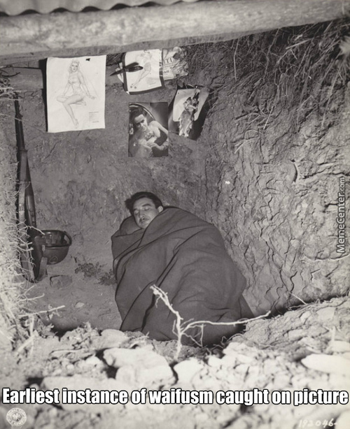 Ww2 Soldier Inside A Foxhole With His Guardian Angels