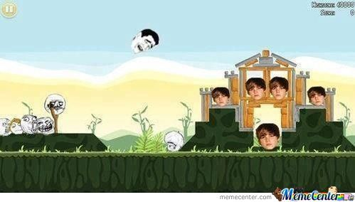 Angry birds as rage faces vs Justin