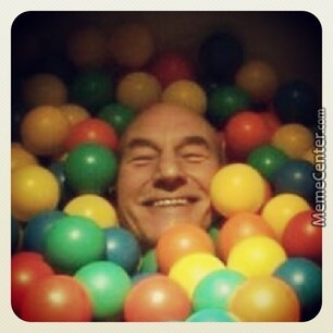 You May Be Happy, But You Will Never Be Sir Patrick Stewart In A Ball Pit Happy.